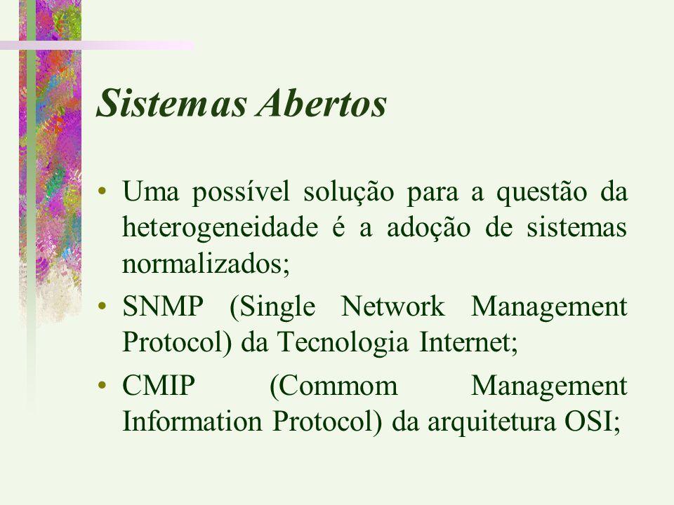 Sistemas Abertos Uma possível solução para a questão da heterogeneidade é a adoção de sistemas normalizados; SNMP (Single Network Management Protocol)