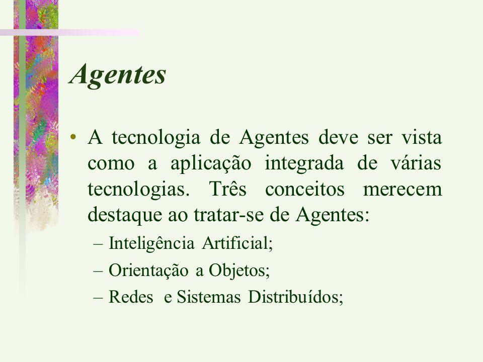 Agentes A tecnologia de Agentes deve ser vista como a aplicação integrada de várias tecnologias. Três conceitos merecem destaque ao tratar-se de Agent