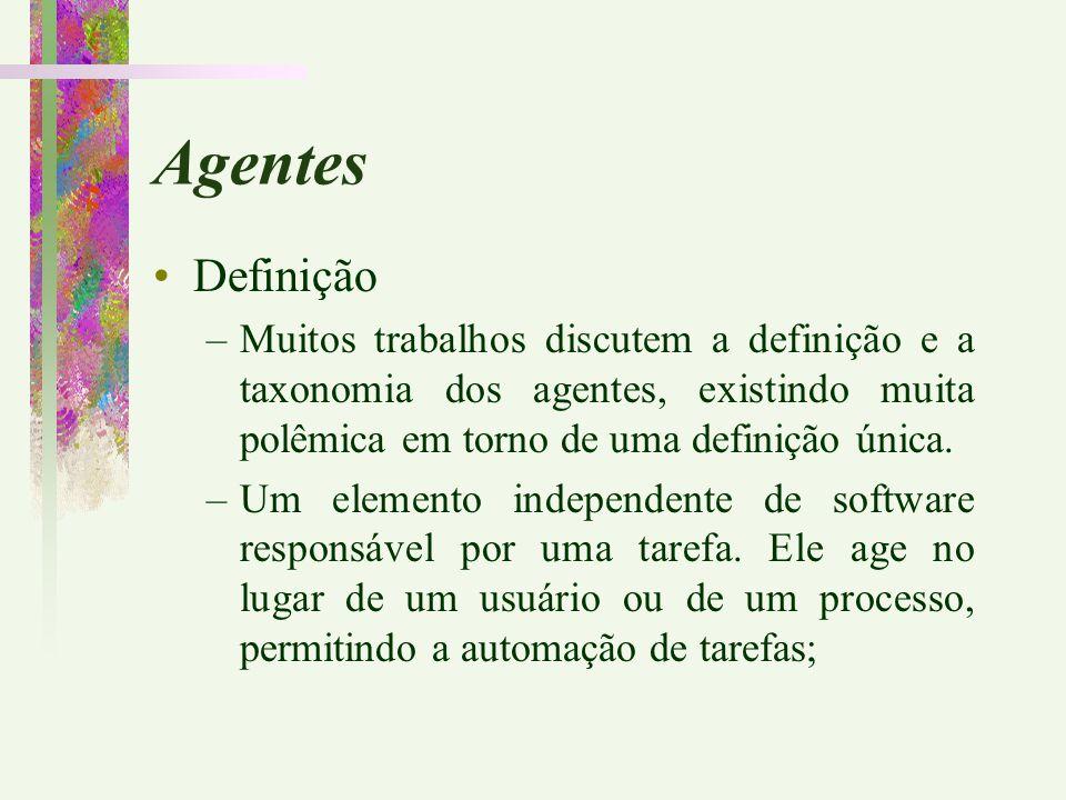Agentes Definição –Muitos trabalhos discutem a definição e a taxonomia dos agentes, existindo muita polêmica em torno de uma definição única. –Um elem