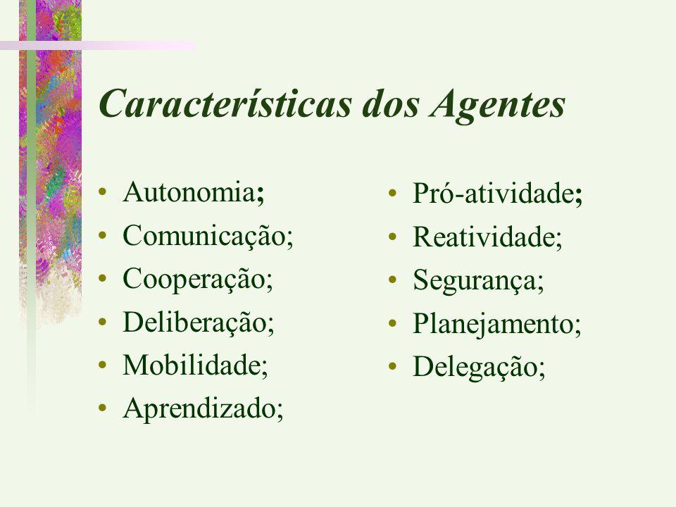 Características dos Agentes Autonomia; Comunicação; Cooperação; Deliberação; Mobilidade; Aprendizado; Pró-atividade; Reatividade; Segurança; Planejame