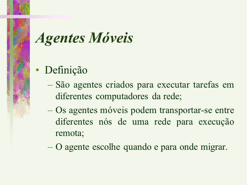 Agentes Móveis Definição –São agentes criados para executar tarefas em diferentes computadores da rede; –Os agentes móveis podem transportar-se entre