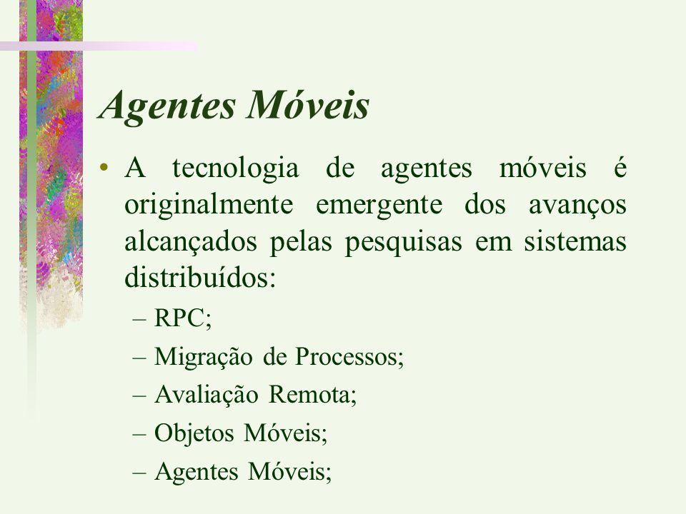 A tecnologia de agentes móveis é originalmente emergente dos avanços alcançados pelas pesquisas em sistemas distribuídos: –RPC; –Migração de Processos