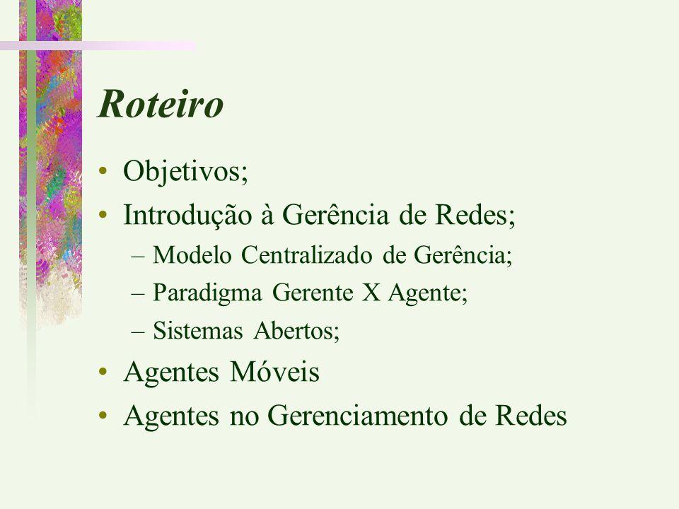 Roteiro Objetivos; Introdução à Gerência de Redes; –Modelo Centralizado de Gerência; –Paradigma Gerente X Agente; –Sistemas Abertos; Agentes Móveis Ag