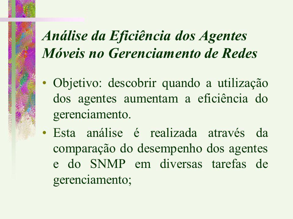 Objetivo: descobrir quando a utilização dos agentes aumentam a eficiência do gerenciamento. Esta análise é realizada através da comparação do desempen