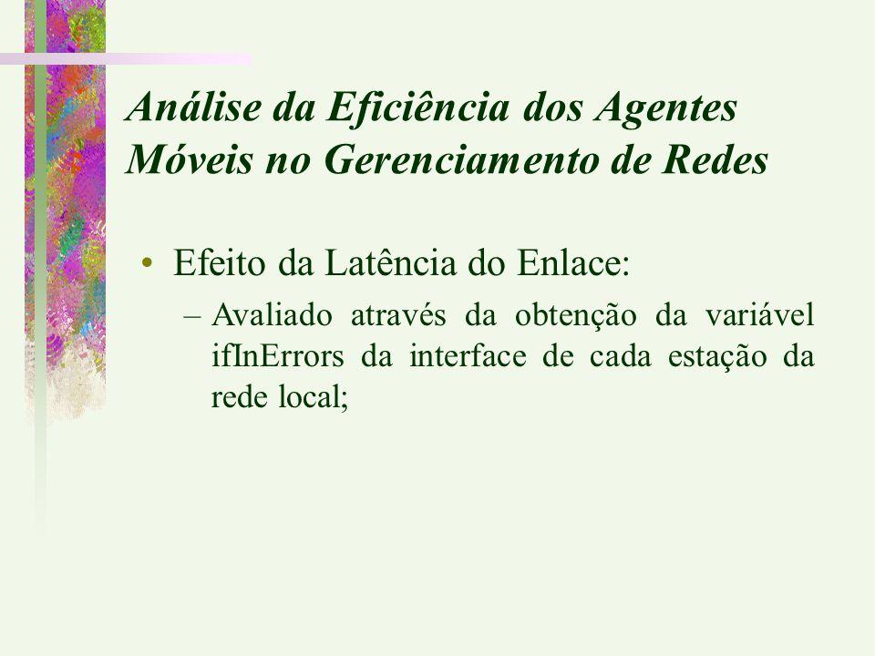 Efeito da Latência do Enlace: –Avaliado através da obtenção da variável ifInErrors da interface de cada estação da rede local;