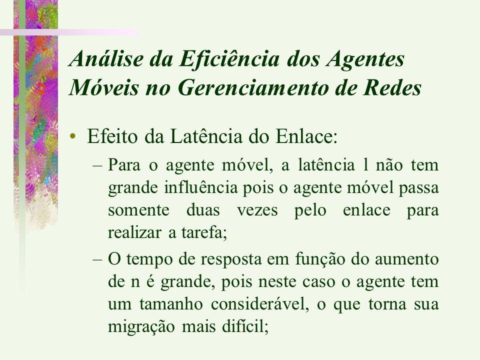 Efeito da Latência do Enlace: –Para o agente móvel, a latência l não tem grande influência pois o agente móvel passa somente duas vezes pelo enlace pa