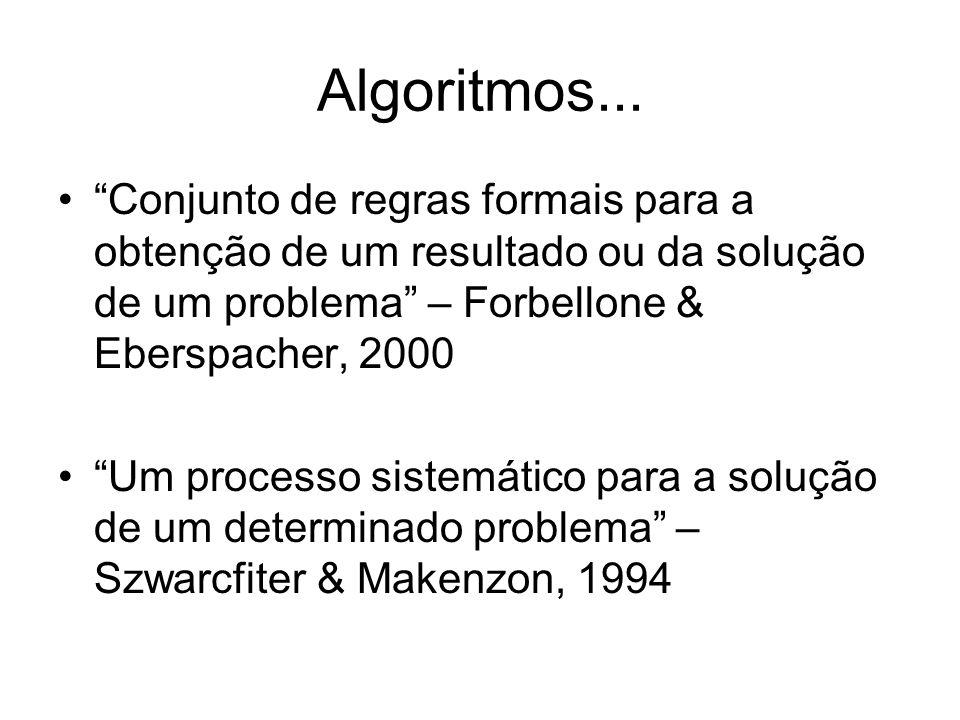 """Algoritmos... """"Conjunto de regras formais para a obtenção de um resultado ou da solução de um problema"""" – Forbellone & Eberspacher, 2000 """"Um processo"""