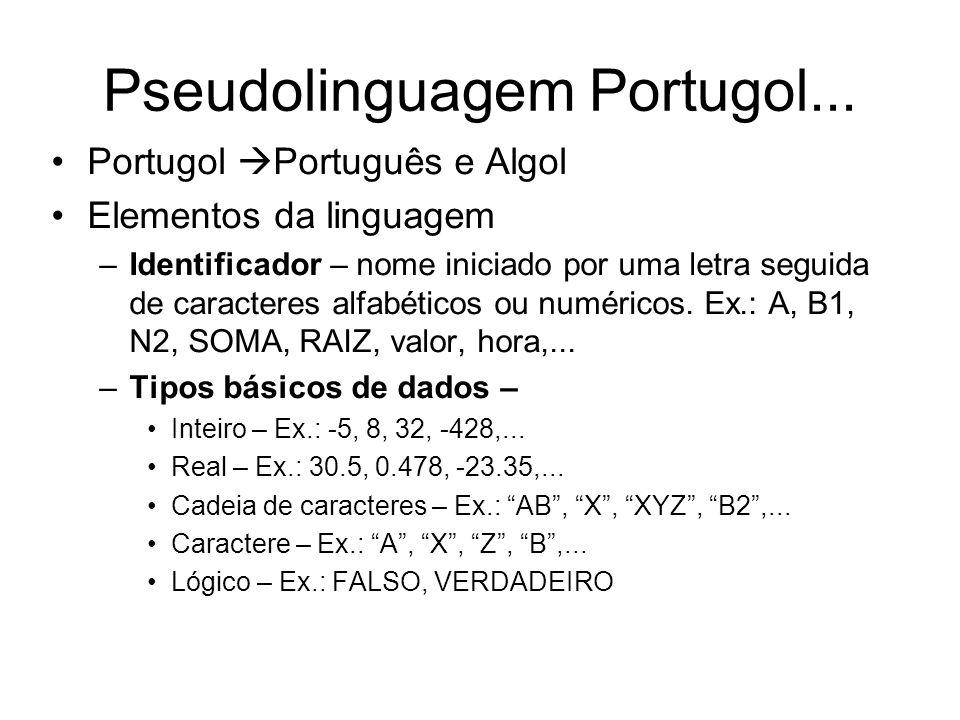 Pseudolinguagem Portugol... Portugol  Português e Algol Elementos da linguagem –Identificador – nome iniciado por uma letra seguida de caracteres alf