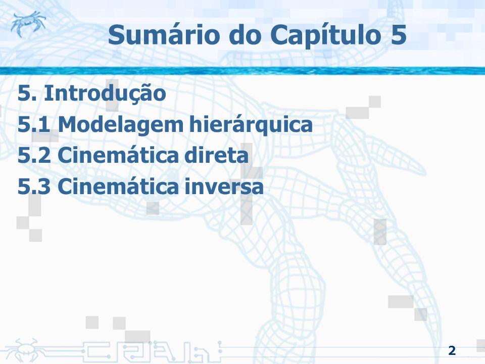 2 Sumário do Capítulo 5 5. Introdução 5.1 Modelagem hierárquica 5.2 Cinemática direta 5.3 Cinemática inversa