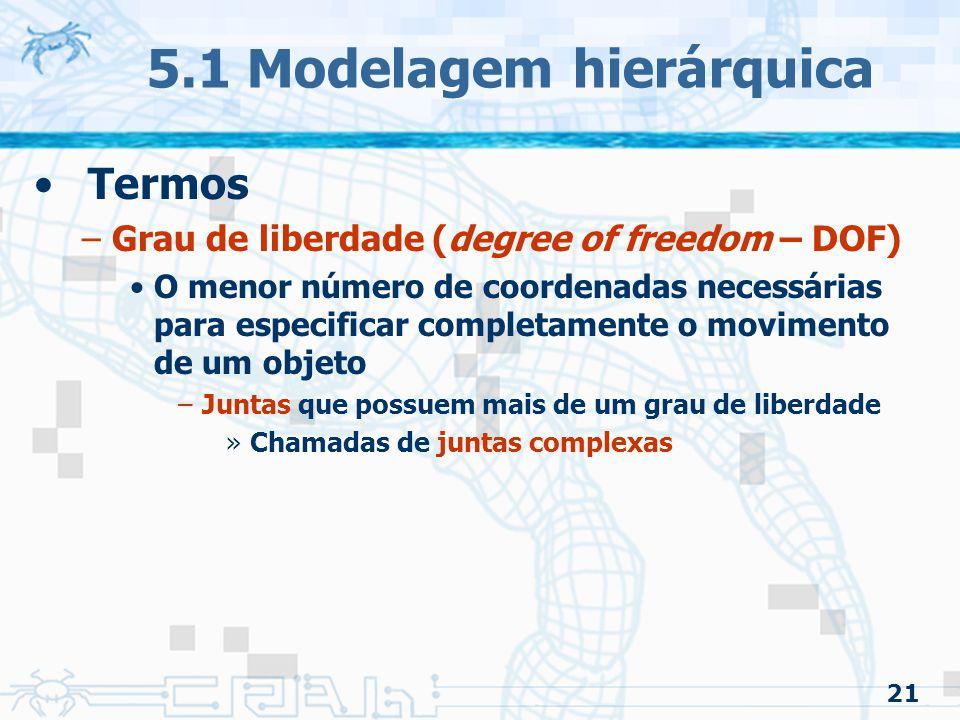21 5.1 Modelagem hierárquica Termos –Grau de liberdade (degree of freedom – DOF) O menor número de coordenadas necessárias para especificar completamente o movimento de um objeto –Juntas que possuem mais de um grau de liberdade »Chamadas de juntas complexas