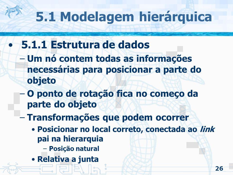 26 5.1 Modelagem hierárquica 5.1.1 Estrutura de dados –Um nó contem todas as informações necessárias para posicionar a parte do objeto –O ponto de rotação fica no começo da parte do objeto –Transformações que podem ocorrer Posicionar no local correto, conectada ao link pai na hierarquia –Posição natural Relativa a junta