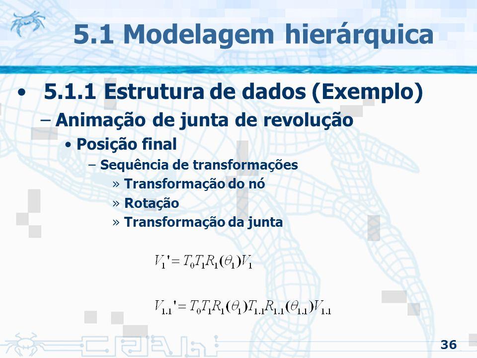 36 5.1 Modelagem hierárquica 5.1.1 Estrutura de dados (Exemplo) –Animação de junta de revolução Posição final –Sequência de transformações »Transformação do nó »Rotação »Transformação da junta