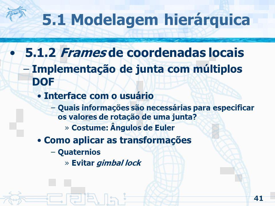 41 5.1 Modelagem hierárquica 5.1.2 Frames de coordenadas locais –Implementação de junta com múltiplos DOF Interface com o usuário –Quais informações são necessárias para especificar os valores de rotação de uma junta.