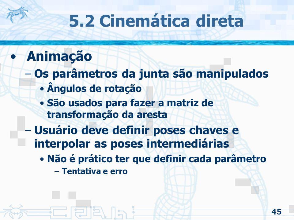 45 5.2 Cinemática direta Animação –Os parâmetros da junta são manipulados Ângulos de rotação São usados para fazer a matriz de transformação da aresta