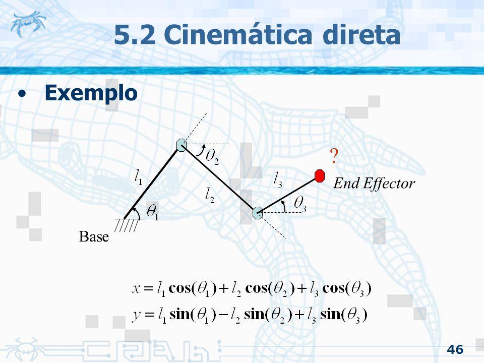 46 5.2 Cinemática direta Exemplo ? Base End Effector