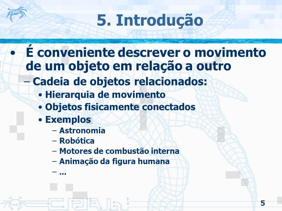 5 5. Introdução É conveniente descrever o movimento de um objeto em relação a outro –Cadeia de objetos relacionados: Hierarquia de movimento Objetos f