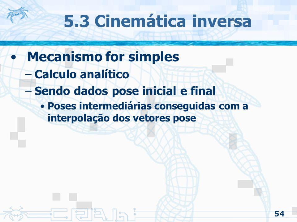 54 5.3 Cinemática inversa Mecanismo for simples –Calculo analítico –Sendo dados pose inicial e final Poses intermediárias conseguidas com a interpolaç