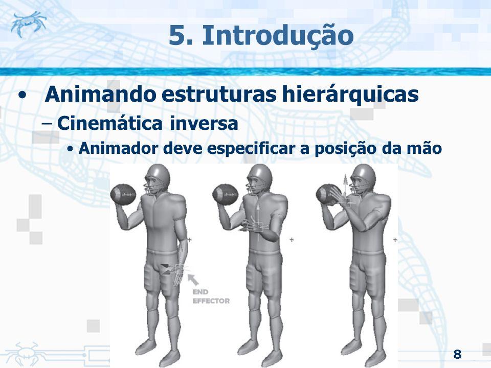 8 5. Introdução Animando estruturas hierárquicas –Cinemática inversa Animador deve especificar a posição da mão