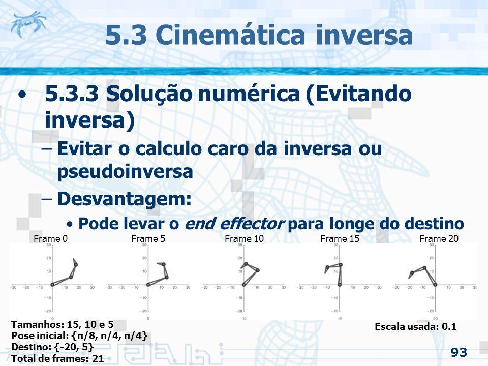 93 5.3 Cinemática inversa 5.3.3 Solução numérica (Evitando inversa) –Evitar o calculo caro da inversa ou pseudoinversa –Desvantagem: Pode levar o end effector para longe do destino Tamanhos: 15, 10 e 5 Pose inicial: {π/8, π/4, π/4} Destino: {-20, 5} Total de frames: 21 Frame 0Frame 5Frame 10Frame 15Frame 20 Escala usada: 0.1