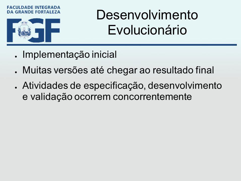 Desenvolvimento Evolucionário ● Implementação inicial ● Muitas versões até chegar ao resultado final ● Atividades de especificação, desenvolvimento e