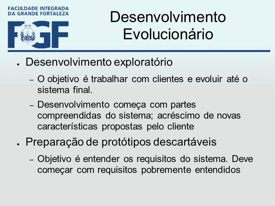 Desenvolvimento Evolucionário ● Desenvolvimento exploratório – O objetivo é trabalhar com clientes e evoluir até o sistema final. – Desenvolvimento co