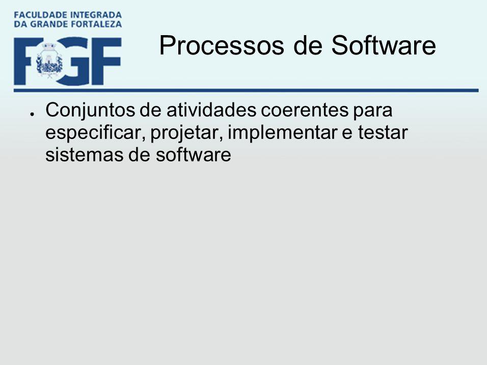 Processos de Software ● Conjuntos de atividades coerentes para especificar, projetar, implementar e testar sistemas de software