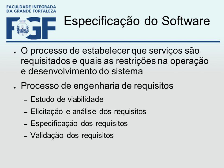Especificação do Software ● O processo de estabelecer que serviços são requisitados e quais as restrições na operação e desenvolvimento do sistema ● P