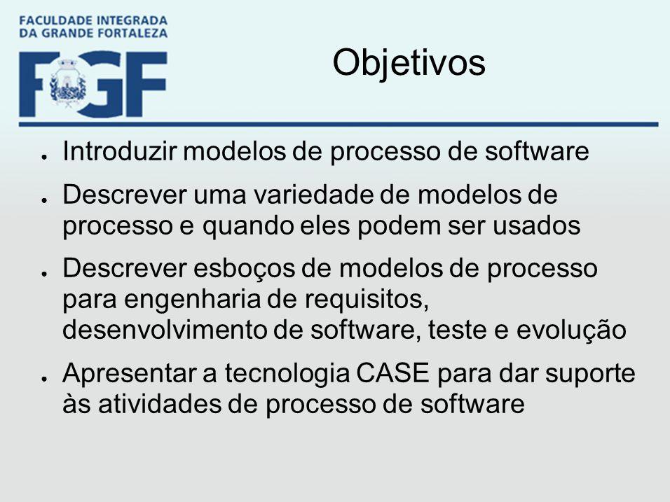 Objetivos ● Introduzir modelos de processo de software ● Descrever uma variedade de modelos de processo e quando eles podem ser usados ● Descrever esb