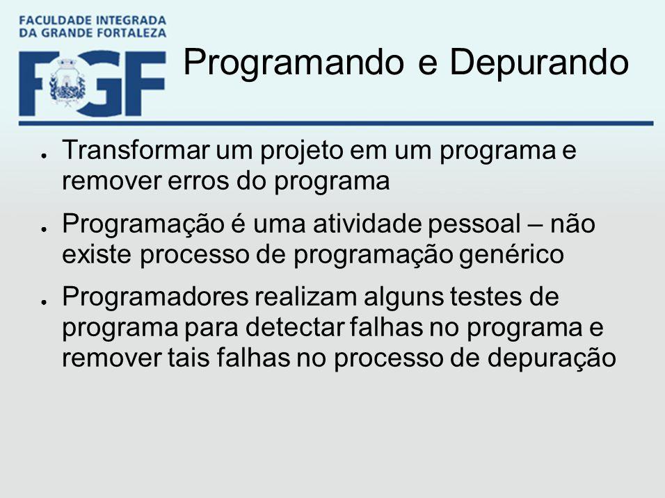Programando e Depurando ● Transformar um projeto em um programa e remover erros do programa ● Programação é uma atividade pessoal – não existe process