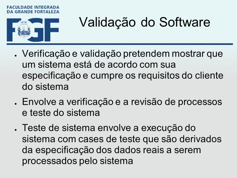 Validação do Software ● Verificação e validação pretendem mostrar que um sistema está de acordo com sua especificação e cumpre os requisitos do client