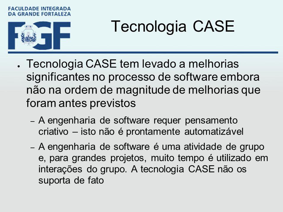 Tecnologia CASE ● Tecnologia CASE tem levado a melhorias significantes no processo de software embora não na ordem de magnitude de melhorias que foram
