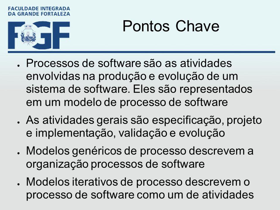 Pontos Chave ● Processos de software são as atividades envolvidas na produção e evolução de um sistema de software. Eles são representados em um model