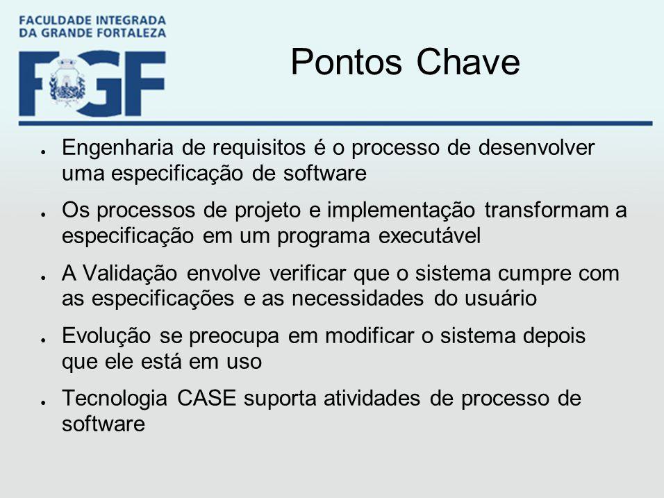 Pontos Chave ● Engenharia de requisitos é o processo de desenvolver uma especificação de software ● Os processos de projeto e implementação transforma