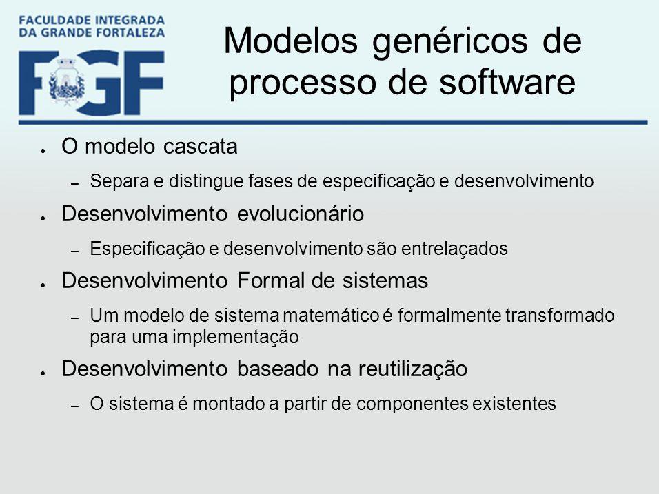 Modelos genéricos de processo de software ● O modelo cascata – Separa e distingue fases de especificação e desenvolvimento ● Desenvolvimento evolucion