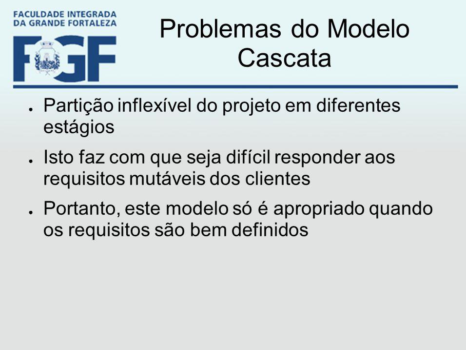 Problemas do Modelo Cascata ● Partição inflexível do projeto em diferentes estágios ● Isto faz com que seja difícil responder aos requisitos mutáveis