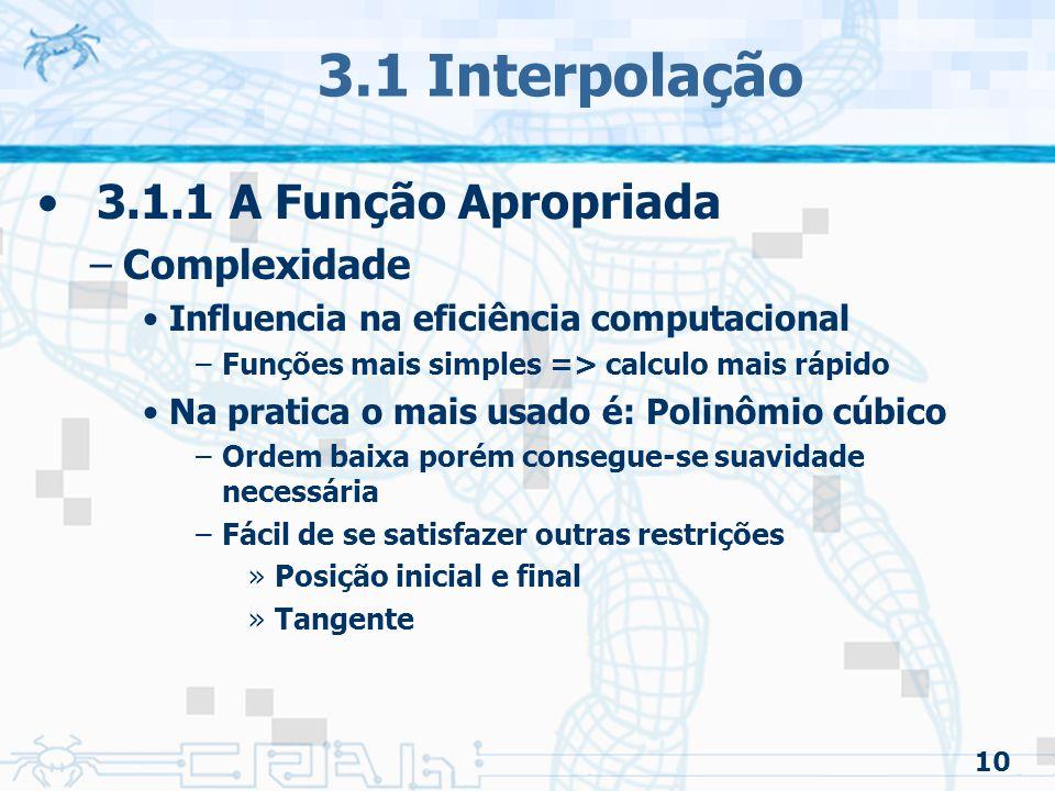 11 3.1 Interpolação 3.1.1 A Função Apropriada –Continuidade Relativa a um ponto da curva Tipos –C0 : ordem zero ou continuidade posicional –C1 : primeira ordem ou continuidade tangencial –C2 : segunda ordem ou continuidade de curvatura