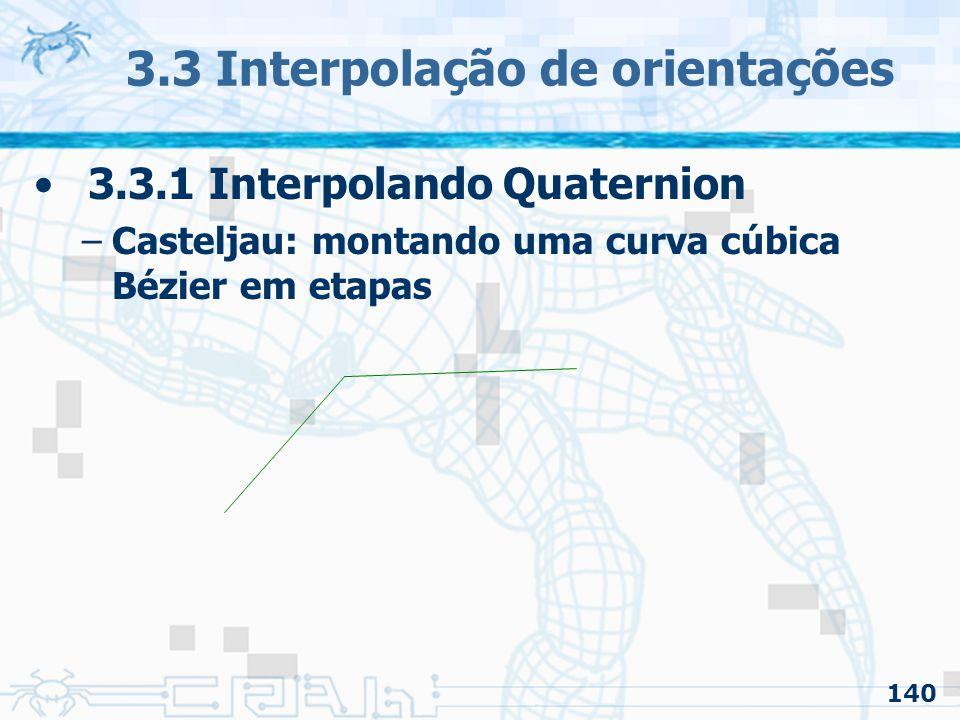 141 3.3 Interpolação de orientações 3.3.1 Interpolando Quaternion –Casteljau: montando uma curva cúbica Bézier em etapas