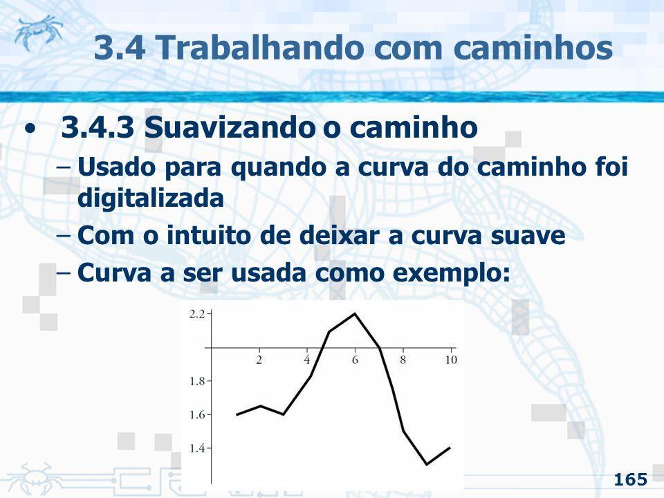 166 3.4 Trabalhando com caminhos 3.4.3 Suavizando o caminho –Suavizando com interpolação linear dos valores adjacentes Para cada é feita uma média: