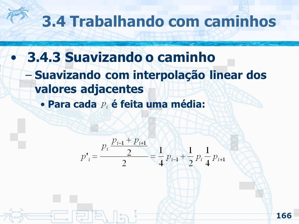 167 3.4 Trabalhando com caminhos 3.4.3 Suavizando o caminho –Suavizando com interpolação linear dos valores adjacentes A curva tende a diminuir suas concavidades a cada repetição do método