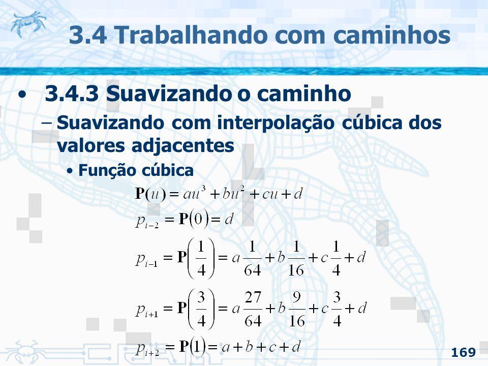 170 3.4 Trabalhando com caminhos 3.4.3 Suavizando o caminho –Suavizando com interpolação cúbica dos valores adjacentes O ponto em é calculado