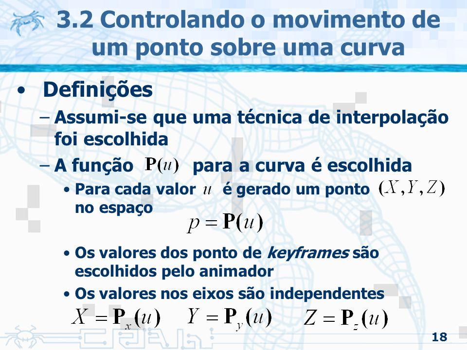 19 3.2 Controlando o movimento de um ponto sobre uma curva Observação –Variações constantes no tempo não geram variações de posição constantes