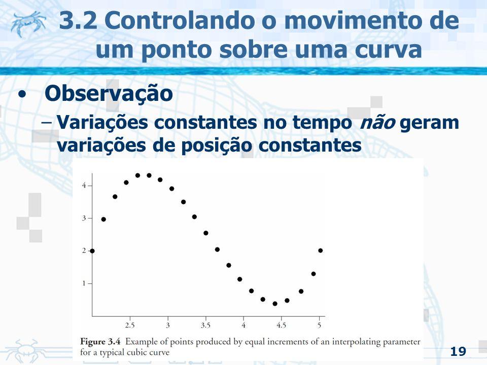 20 3.2 Controlando o movimento de um ponto sobre uma curva Para garantir que a velocidade seja constante: –A função de interpolação tem que ser parametrizada pelo comprimento de arco A maioria das aplicações é reparametrizada –Analiticamente Raramente pode ser usada –Métodos numéricos Cria tabelas estabelecendo relação entre o parâmetro e o comprimento de arco