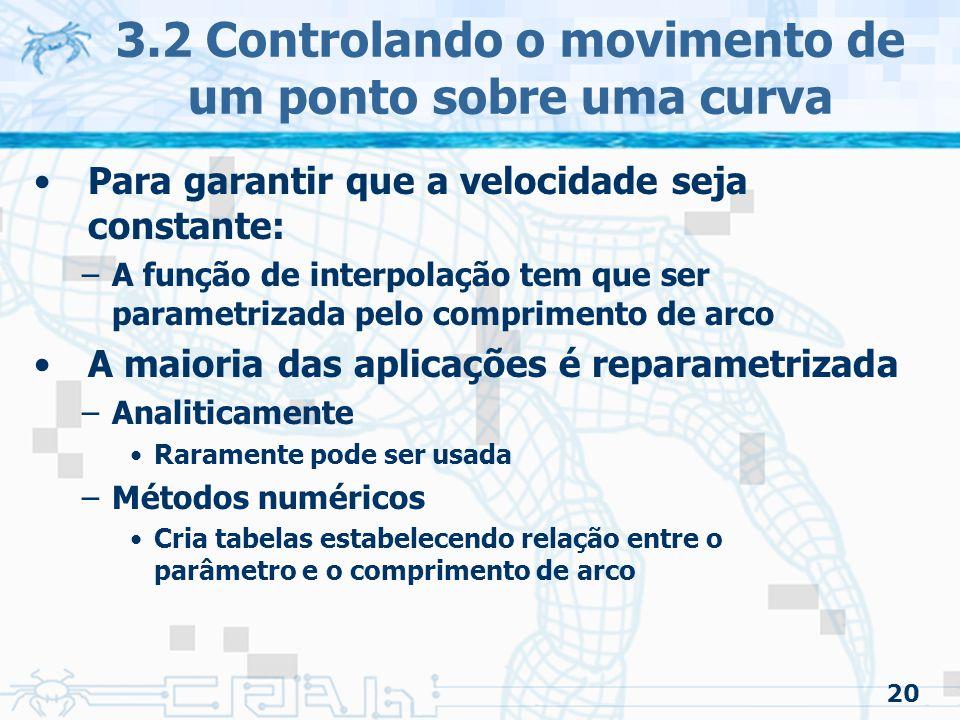 21 3.2 Controlando o movimento de um ponto sobre uma curva 3.2.1 Calculando o comprimento de arco –Problema prático Ao invés de especificar a posição/tempo, especifique-se: –Objeto parte do repouso em A –Acelera suavemente até frame 20 –Mantém velocidade constante até o frame 35 –Desacelera suavemente até o frame 60 parando ao final da curva Estas restrições podem ser obtidas com um sistema que computa a distância ao longo de qualquer parte da curva