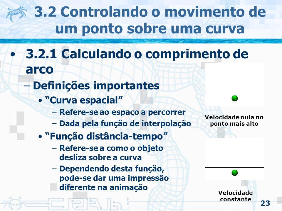 24 3.2 Controlando o movimento de um ponto sobre uma curva 3.2.1 Calculando o comprimento de arco –Definições importantes A função que calcula o comprimento de arco –Quando se trata de um valor especifico –Se for em função do tempo –Uma função de comprimento de arco que calcula o valor paramétrico