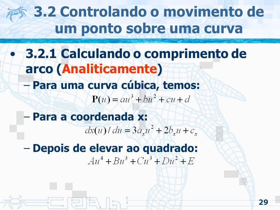 30 3.2 Controlando o movimento de um ponto sobre uma curva 3.2.1 Calculando o comprimento de arco (Analiticamente) –Par um caso bidimensional, ficaria: