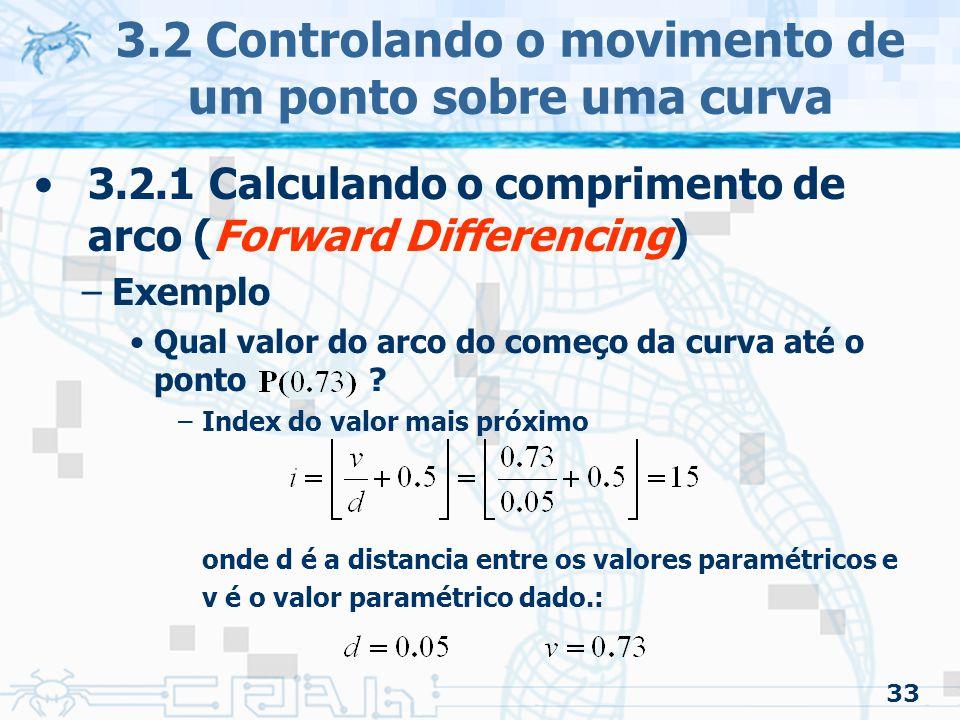 34 3.2 Controlando o movimento de um ponto sobre uma curva 3.2.1 Calculando o comprimento de arco (Forward Differencing) –Exemplo Qual valor do arco do começo da curva até o ponto .