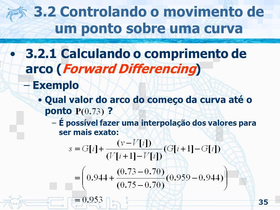 36 3.2 Controlando o movimento de um ponto sobre uma curva 3.2.1 Calculando o comprimento de arco (Forward Differencing) –Para achar a distância entre dois pontos (problema 1) Fazer o mesmo procedimento anterior para os dois pontos e subtrair as distâncias –Achar o valor paramétrico para um dado comprimento de arco Semelhante ao anterior