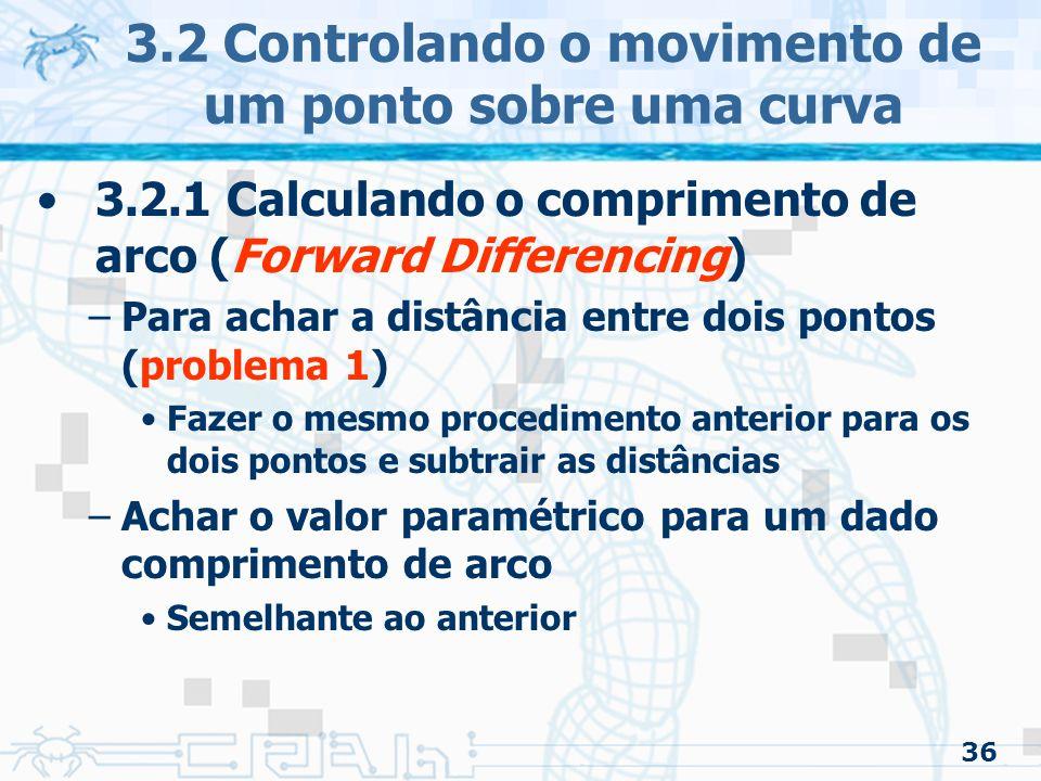 37 3.2 Controlando o movimento de um ponto sobre uma curva 3.2.1 Calculando o comprimento de arco (Forward Differencing) –Exemplo Qual valor paramétrico do ponto onde o comprimento de arco do começo da curva até ele é de .