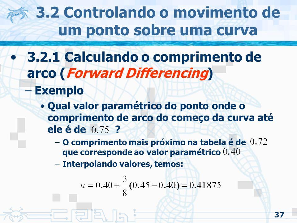 38 3.2 Controlando o movimento de um ponto sobre uma curva 3.2.1 Calculando o comprimento de arco (Forward Differencing) –Para achar o ponto a uma dada distância de outro ponto dado (problema 2) A tabela pode ser usada para achar o comprimento de arco,, associada ao ponto dado Reformulando o problema: –Achar o ponto onde a distancia é: