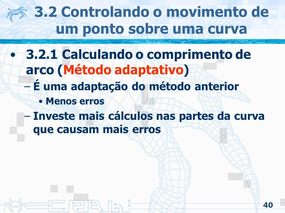 41 3.2 Controlando o movimento de um ponto sobre uma curva 3.2.1 Calculando o comprimento de arco (Método adaptativo) –O método começa com o seguimento de curva completo –Cria uma tabela como no método anterior Cada elemento da tabela associa um valor paramétrico com seu comprimento de arco –Também pode ser guardado o ponto Estrutura apropriada: –Lista encadeada